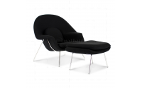 Eero Saarinen Style Womb Chair Black Cashmere Wool