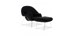 Eero Saarinen Style Womb Chair Black Cashmere Wool - Replica