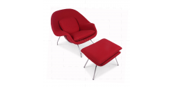 Eero Saarinen Style Womb Chair Red Cashmere Wool - Replica