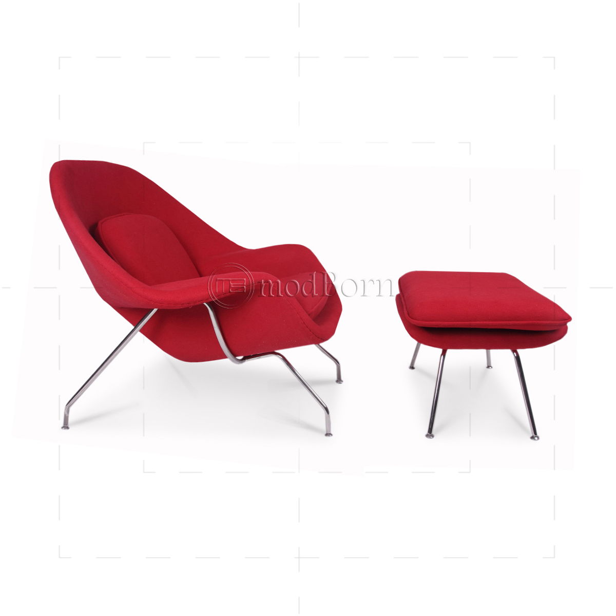Eero saarinen style womb chair red cashmere wool replica - Saarinen womb chair reproduction ...