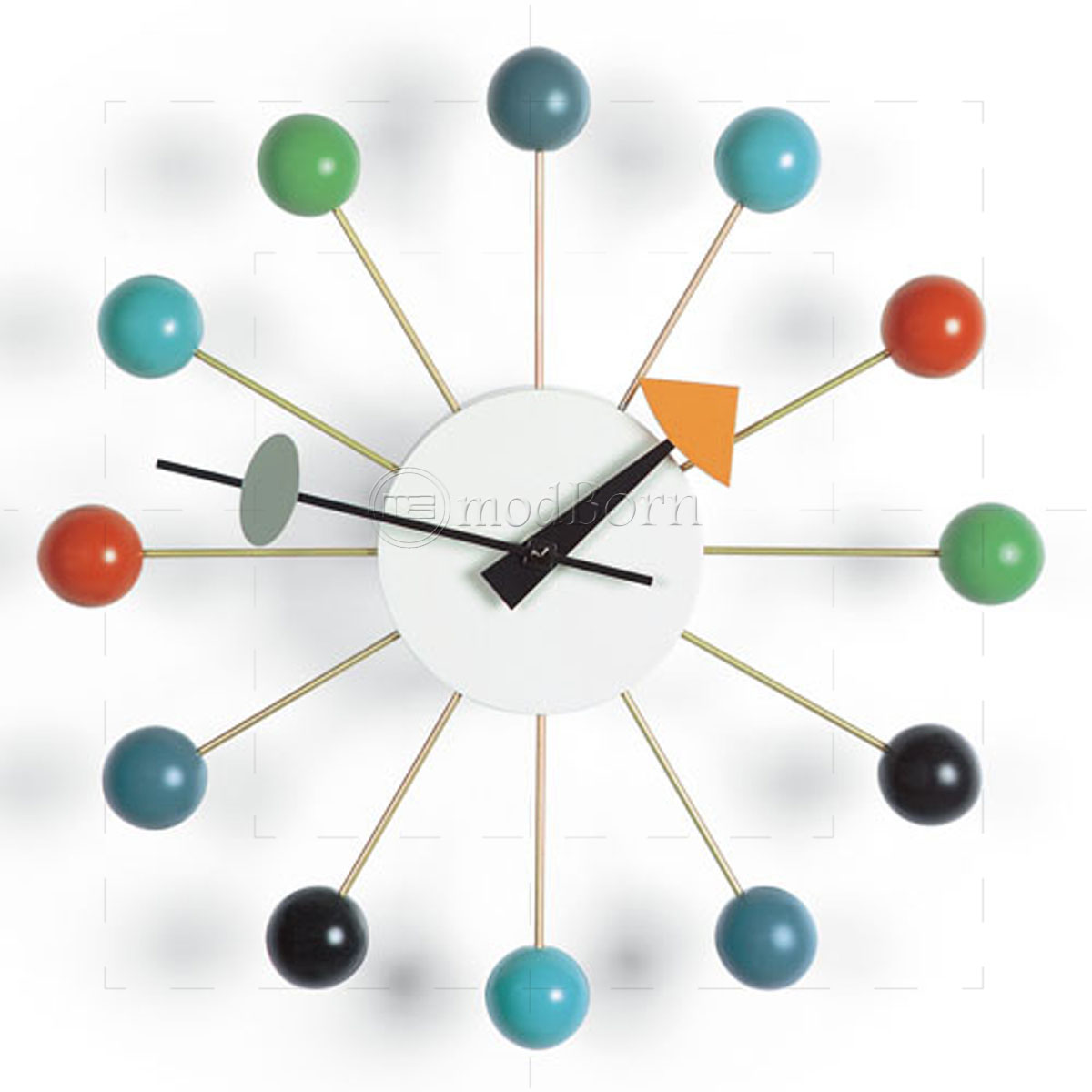george nelson style ball wall clock mutli color. Black Bedroom Furniture Sets. Home Design Ideas