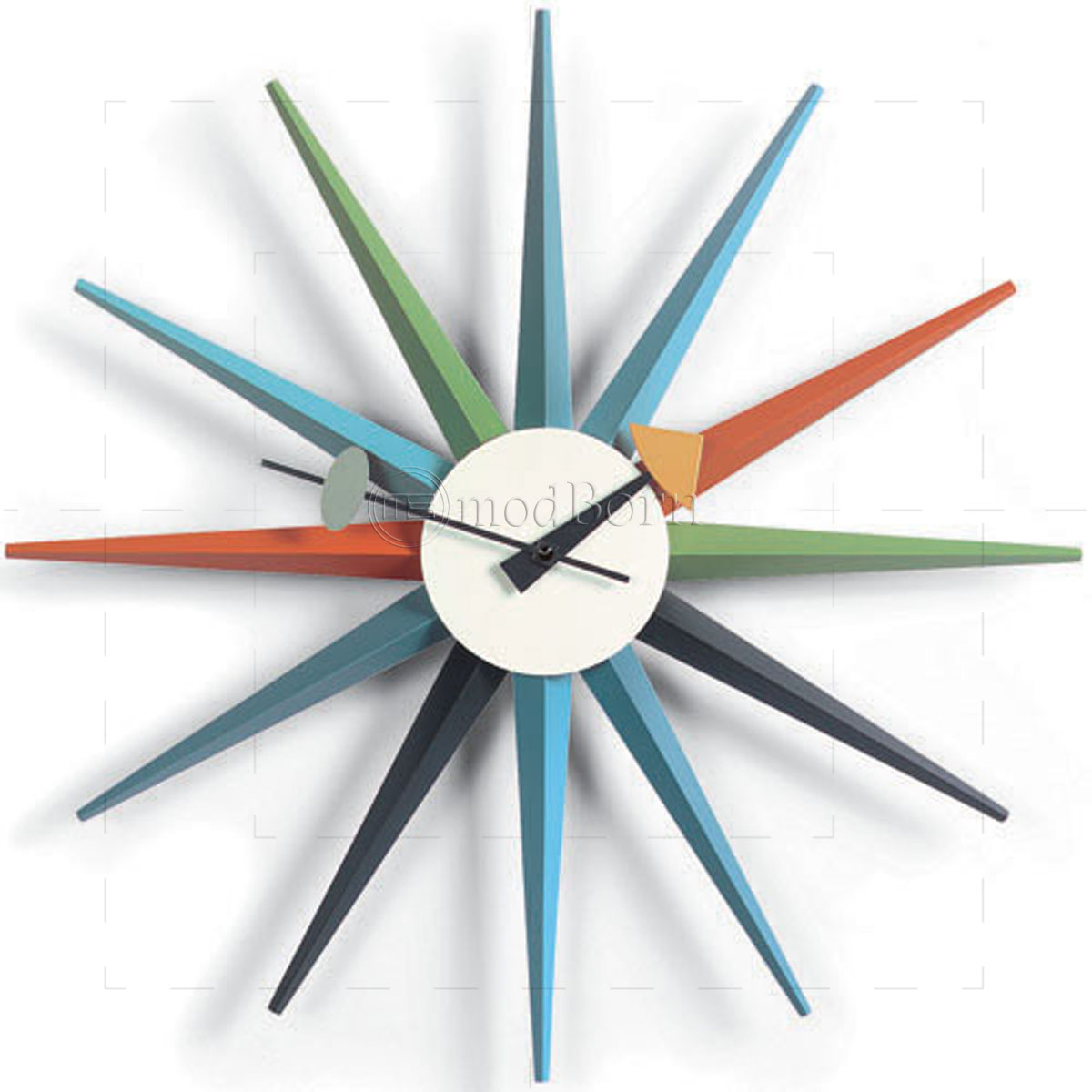 George nelson style sunburst wall clock mutli color for Nelson wall clock
