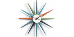 George Nelson Style Sunburst Wall Clock Mutli Color - Replica