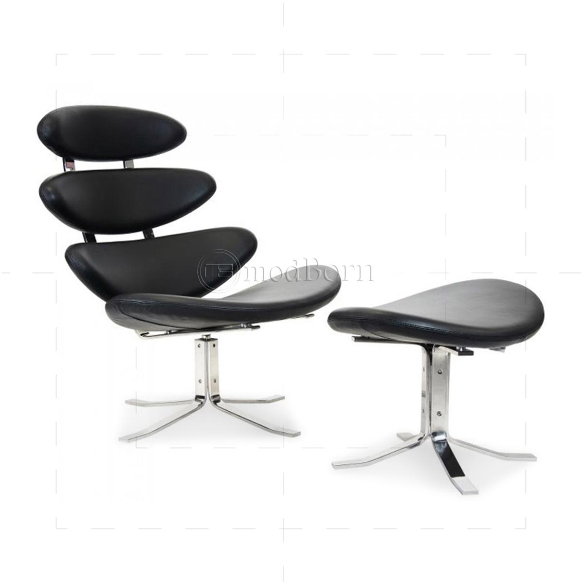Poul m volther style corona chair and ottoman replica - Corona chair replica ...