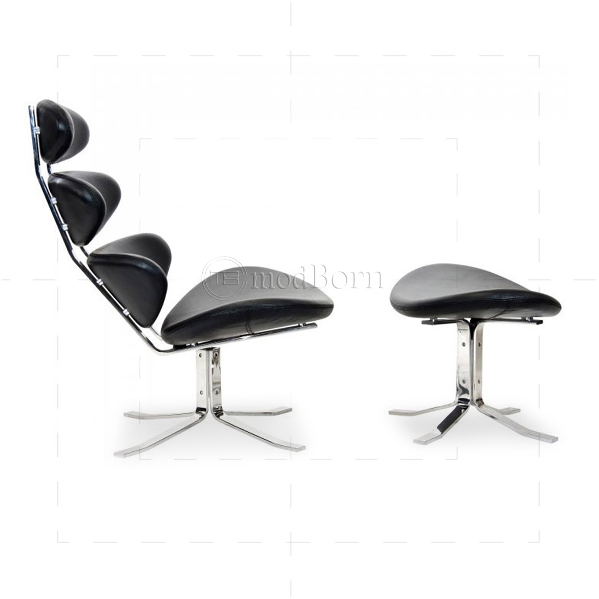 Poul m volther style corona chair and ottoman - Corona chair replica ...