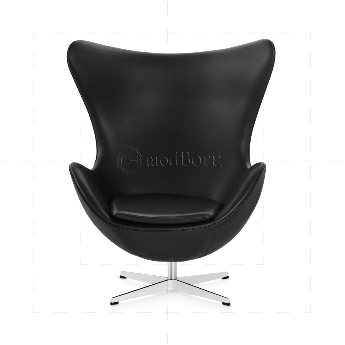 Arne Jacobsen Style Egg Chair Black Leather   Replica
