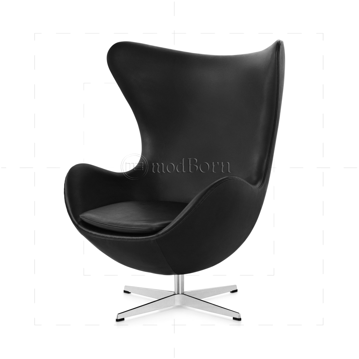 Arne jacobsen style egg chair black leather for Egg chair jacobsen