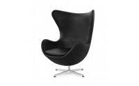 Arne Jacobsen Style Egg Chair Black Leather