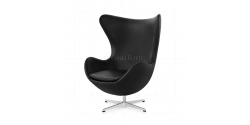 Arne Jacobsen Style Egg Chair Black Leather - Replica