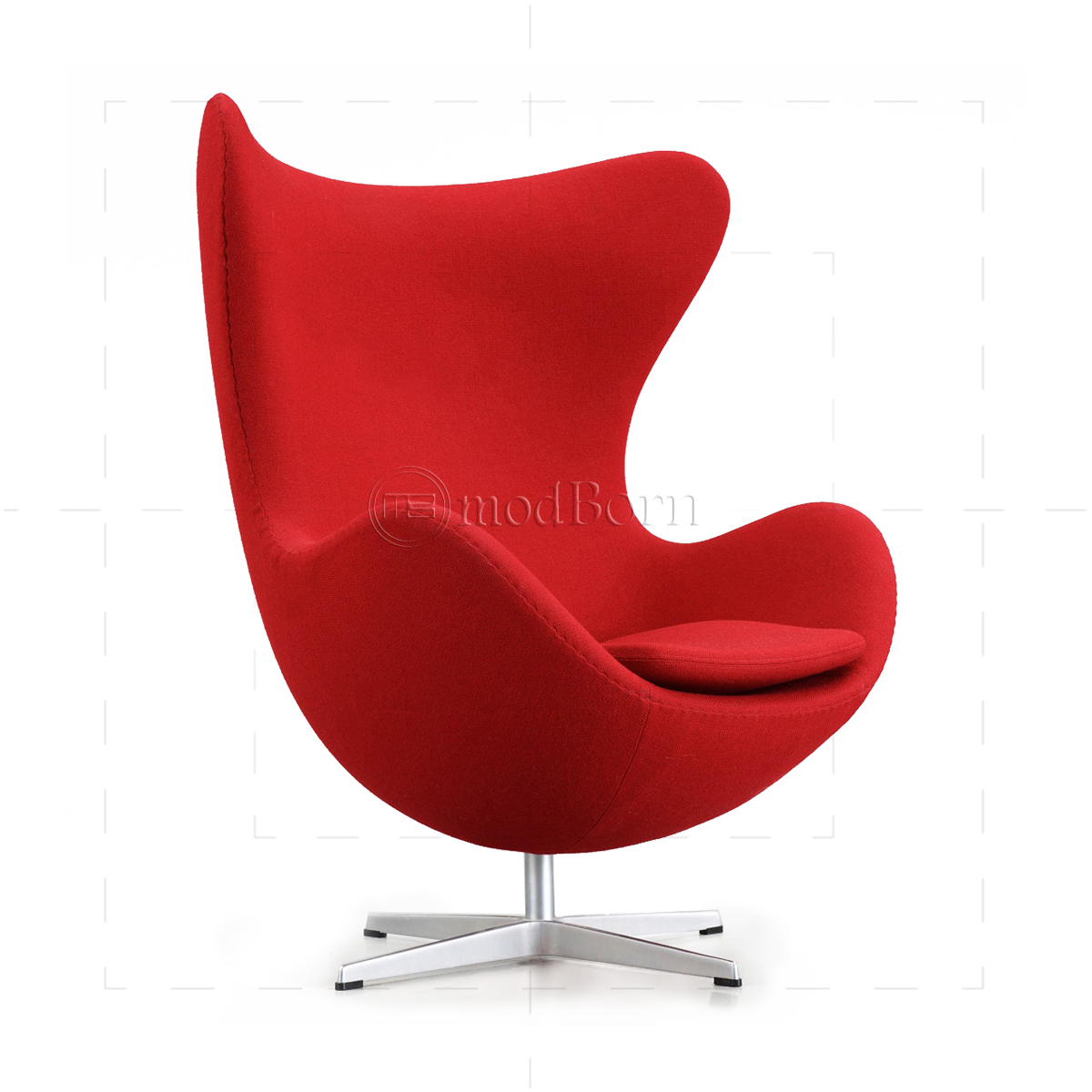 Arne Jacobsen Style Egg Cashmere Wool Chair RED