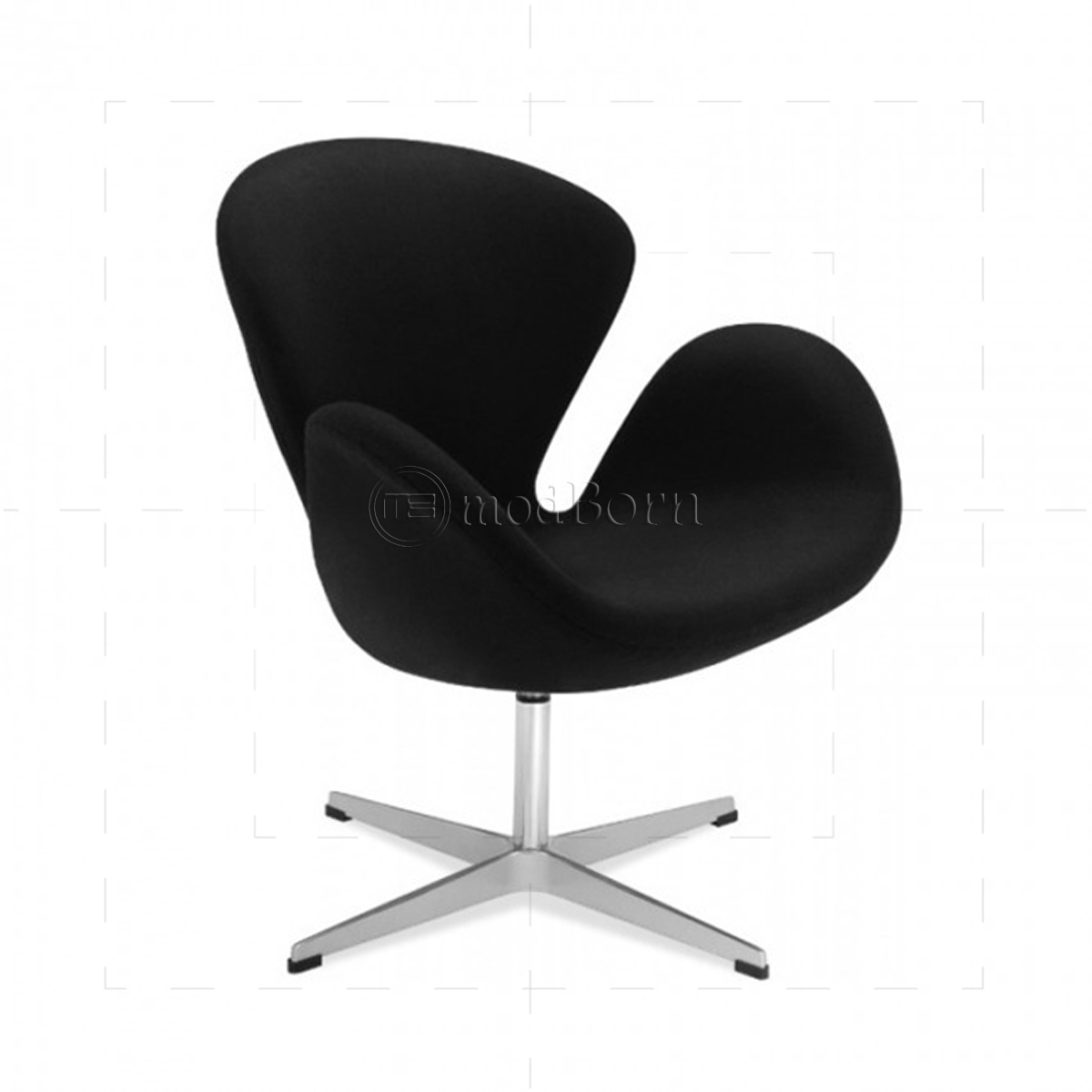Arne jacobsen style swan chair black cashmere wool replica for Jacobsen replica