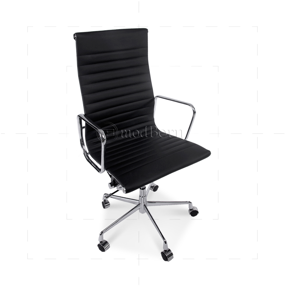 ea119 eames style office chair high back ribbed black leather replica