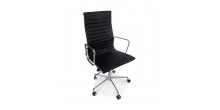EA119 Eames Style Office Chair High Back Ribbed Black Leather - Replica