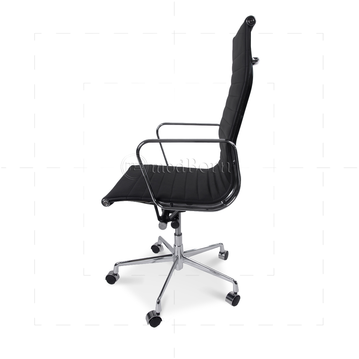 ea119 eames style office chair high back ribbed black leather replica. Black Bedroom Furniture Sets. Home Design Ideas