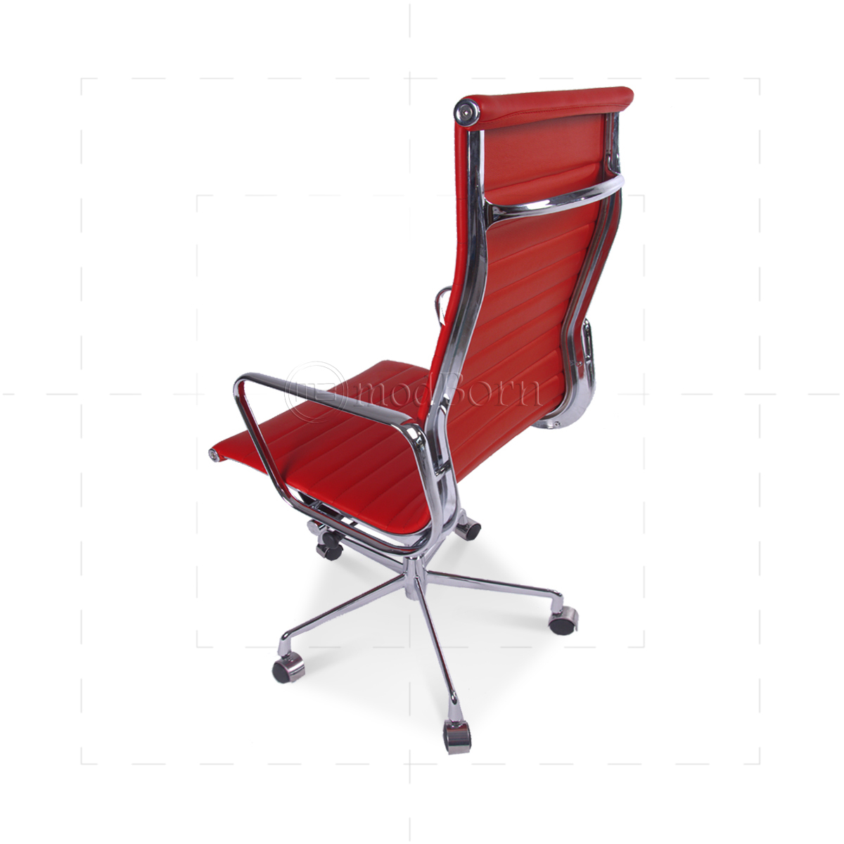 ea119 eames style office chair high back ribbed red leather replica. Black Bedroom Furniture Sets. Home Design Ideas