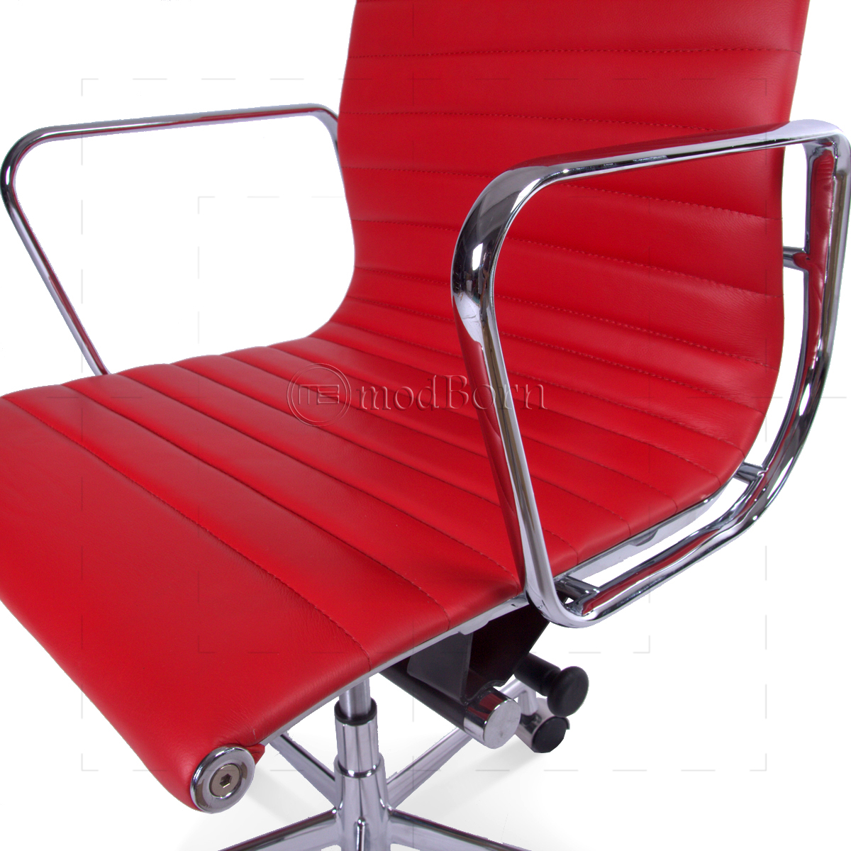 EA119 Eames Style Office Chair High Back Ribbed Red Leather   Replica