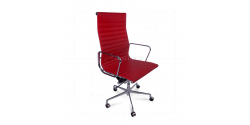Office Chair High Back Ribbed Red Leather