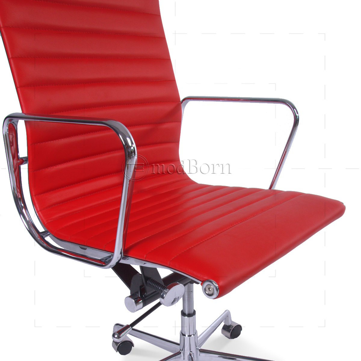 Ea119 eames style office chair high back ribbed red for Eames stuhl replica deutschland