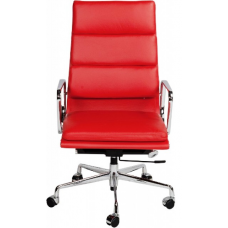 EA219 Eames Style Office Chair High Back Soft Pad Red Leather - Replica