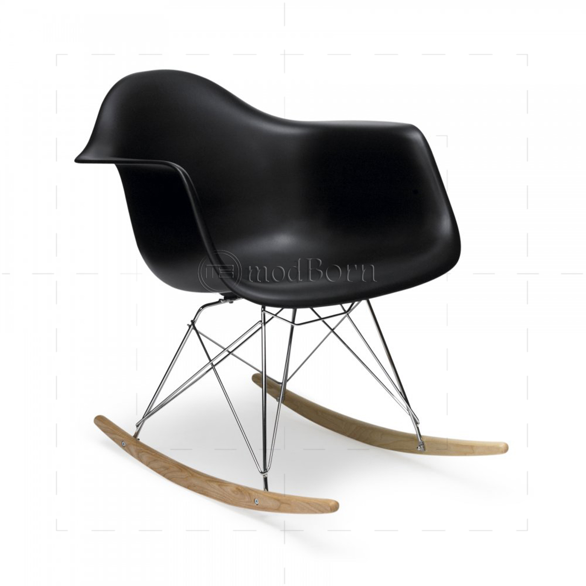 eames style dining rocking rar arm chair black. Black Bedroom Furniture Sets. Home Design Ideas
