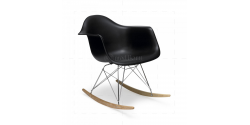 Eames Style Dining Rocking RAR Arm Chair BLACK - Replica