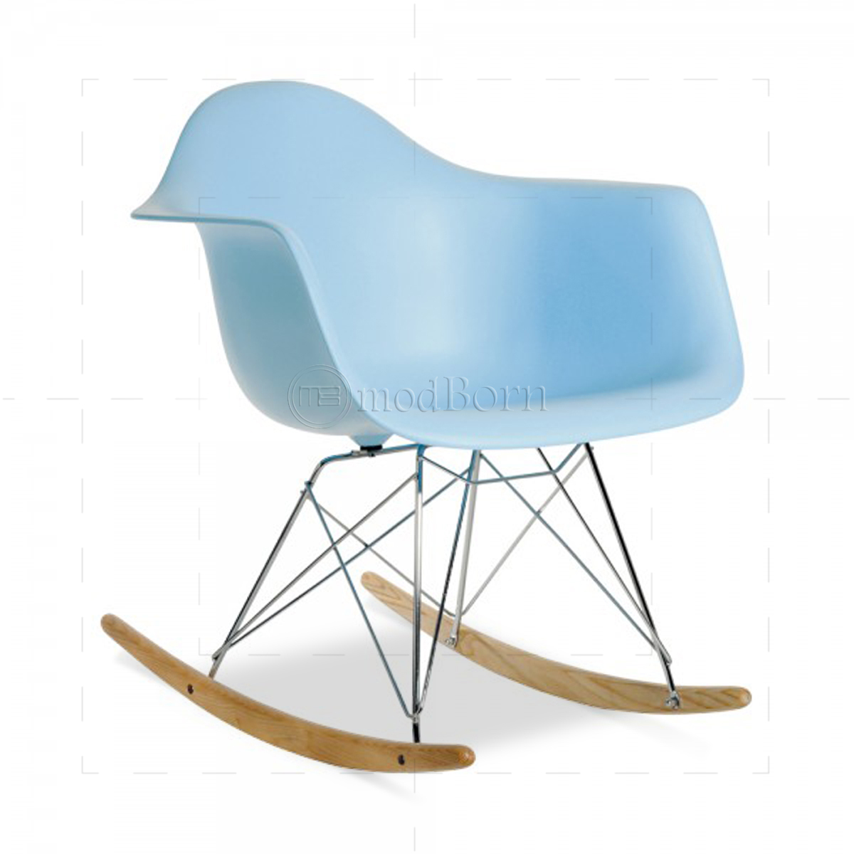 Eames style dining rocking rar arm chair blue replica for Eames replica deutschland