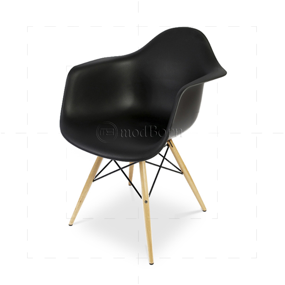 Eames style dining daw arm chair black replica for Eames replica