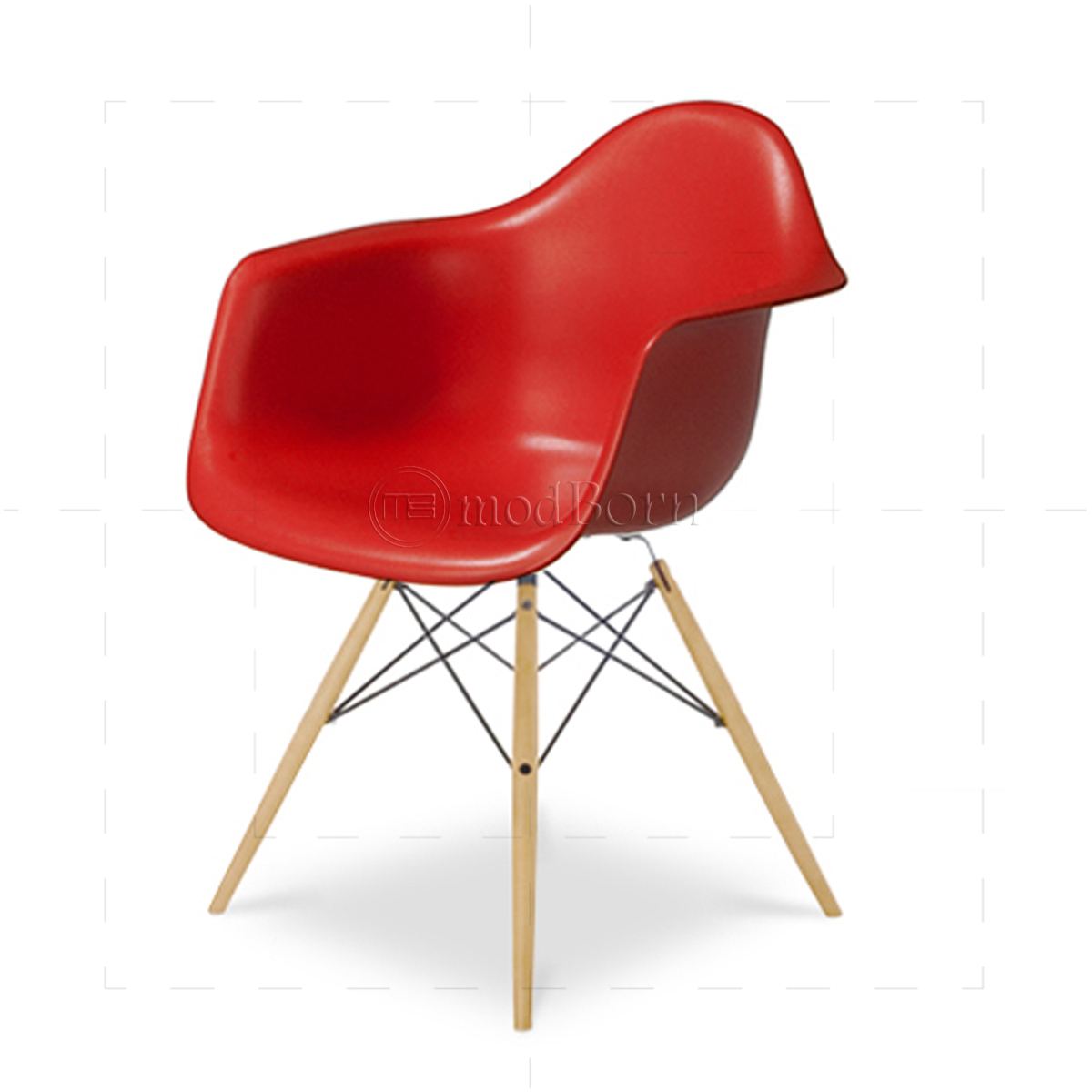 Eames Style Dining DAW Arm Chair RED