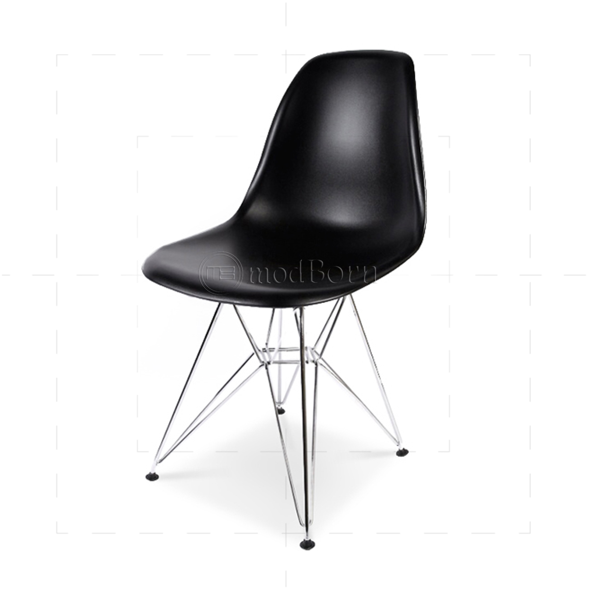 Affordable eames style dining dsr eiffel chair black with for Chaise haute style eames