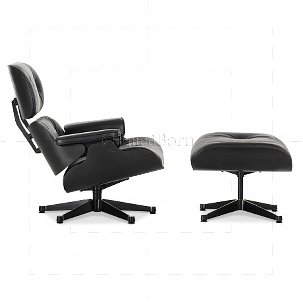 Eames Style Lounge Chair and Ottoman Black Leather Black Wood
