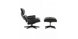 Lounge Chair and Ottoman Black Leather Black Wood