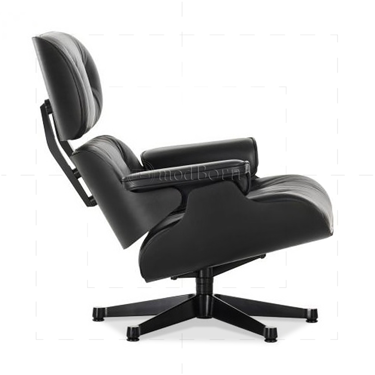 Eames style lounge chair and ottoman black leather black wood for Vitra stuhl replica