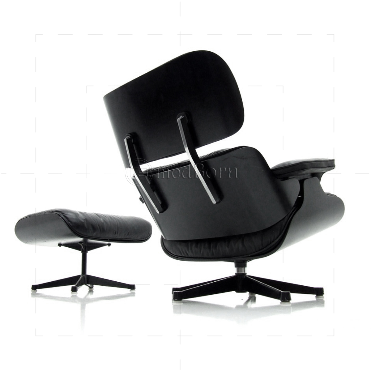 Eames Lounge Stoel Replica.Eames Style Lounge Chair And Ottoman Black Leather Black Wood Replica