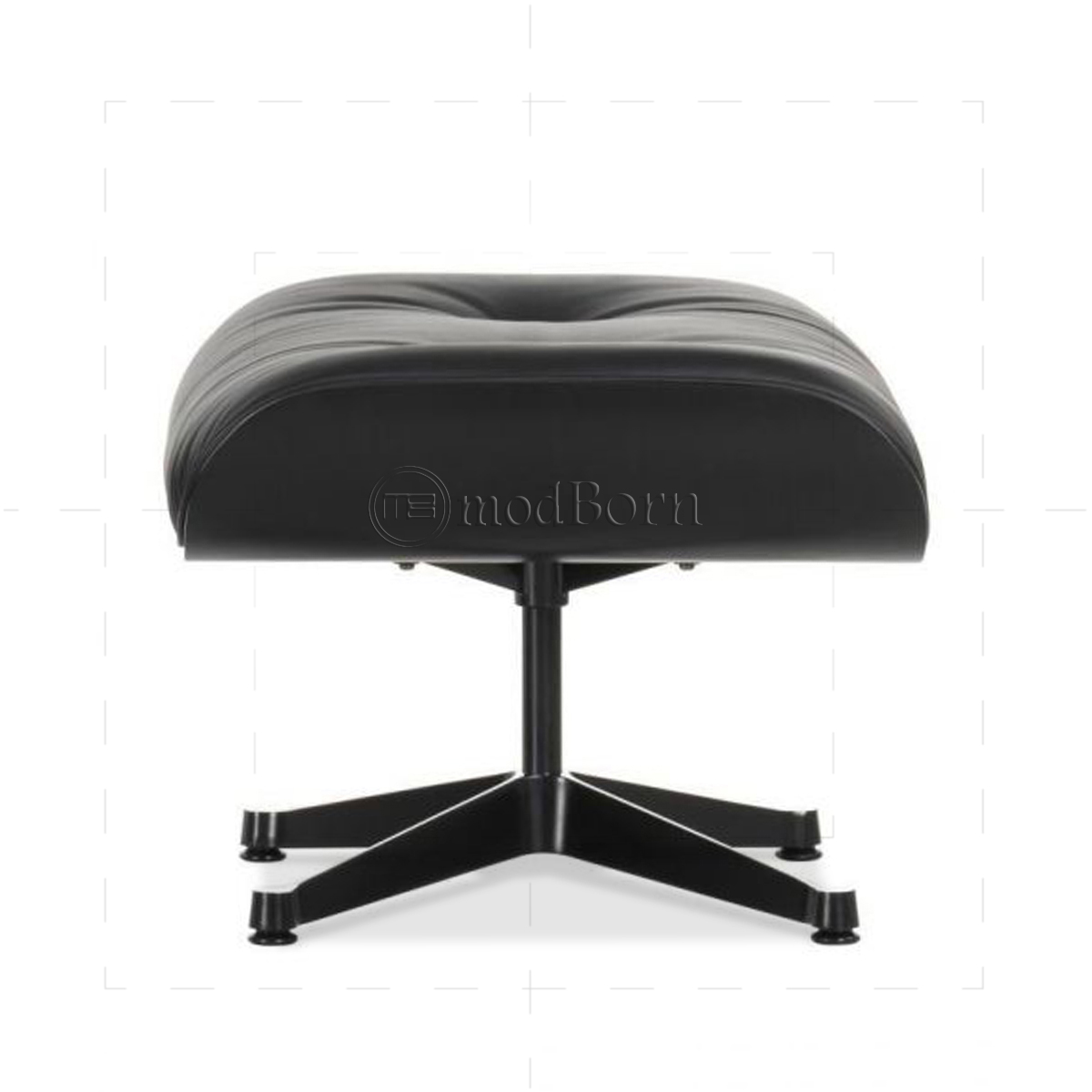 Eames Style Lounge Chair And Ottoman Black Leather Black Wood   Replica