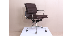 Office Chair Low Back Soft Pad DARK BROWN Leather