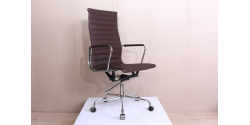 EA119 Eames Style Office Chair High Back Ribbed DARK BROWN Leather - Replica