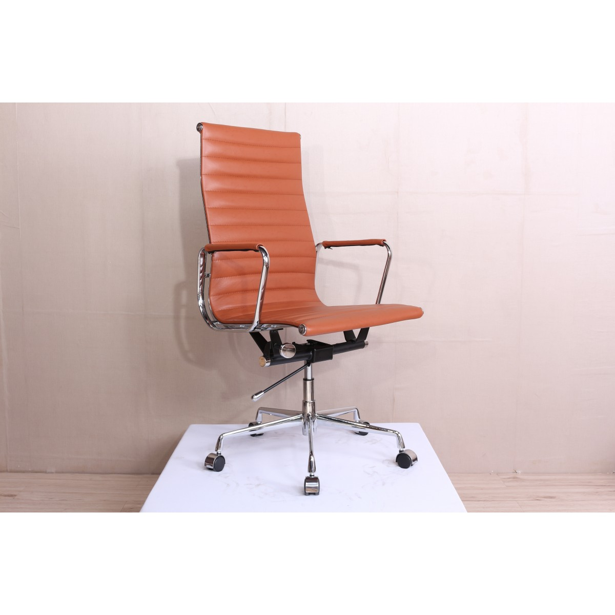 Picture of: Office Chair High Back Ribbed Cognac Brown Leather