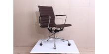 EA117 Eames Style Office Chair Low Back Ribbed Dark BROWN Leather - Replica