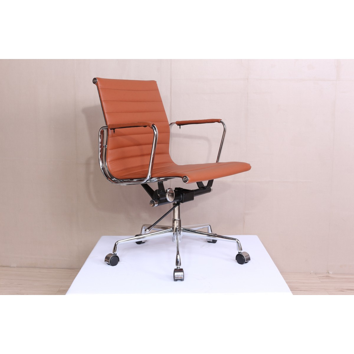 Eames ribbed chair tan office Orange Ea117 Eames Style Office Chair Low Back Ribbed Cognac Brown Leather Replica Bomer Ea117 Eames Style Office Chair Low Back Ribbed Cognac Brown Leather