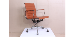 EA117 Eames Style Office Chair Low Back Ribbed COGNAC BROWN Leather - Replica