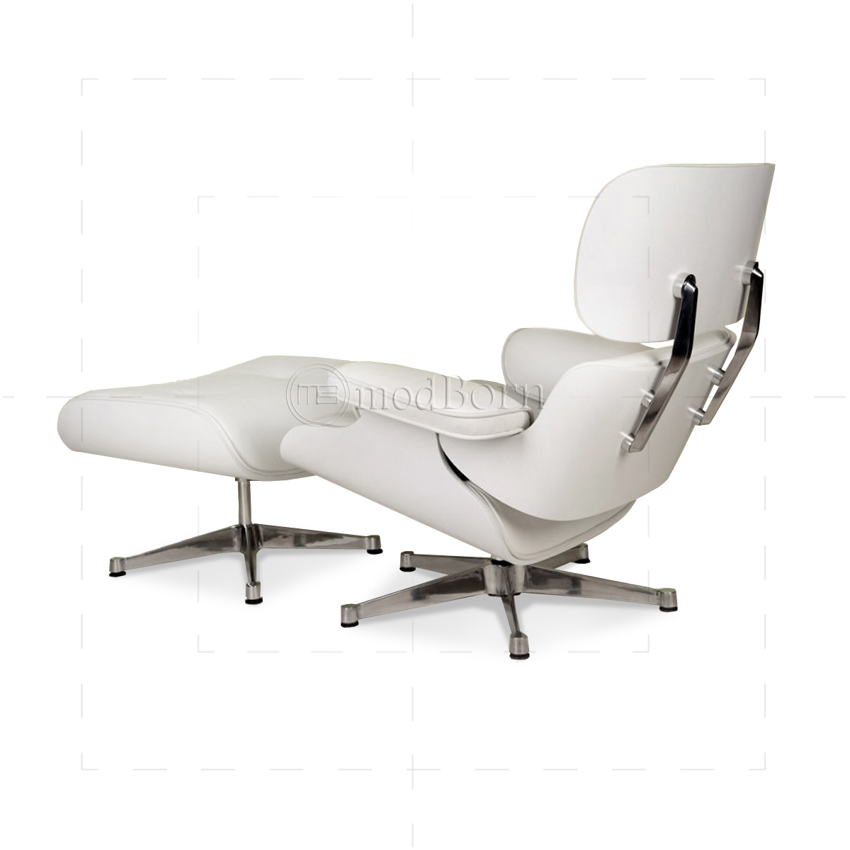 Eames Style Lounge Chair and Ottoman White Leather White Wood
