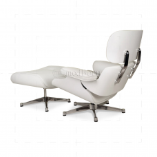 Eames Style Lounge Chair And Ottoman White Leather White Wood   Replica
