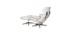 Eames Style Lounge Chair and Ottoman White Leather White Wood - Replica