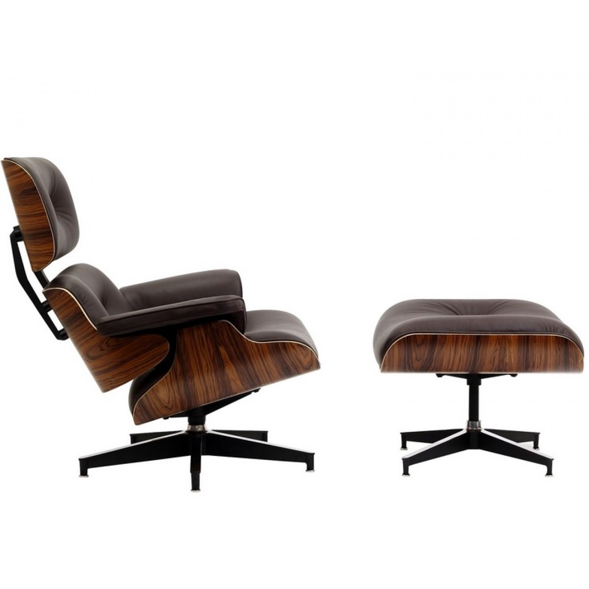 eames style lounge chair and ottoman brown leather walnut wood. Black Bedroom Furniture Sets. Home Design Ideas