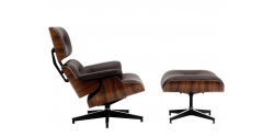 Lounge Chair and Ottoman Brown Leather Walnut Wood