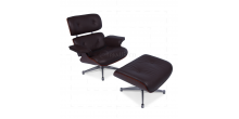 Eames Style Lounge Chair and Ottoman Brown Leather Cherry Wood - Replica
