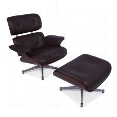 Lounge Chair and Ottoman Brown Leather Cherry Wood