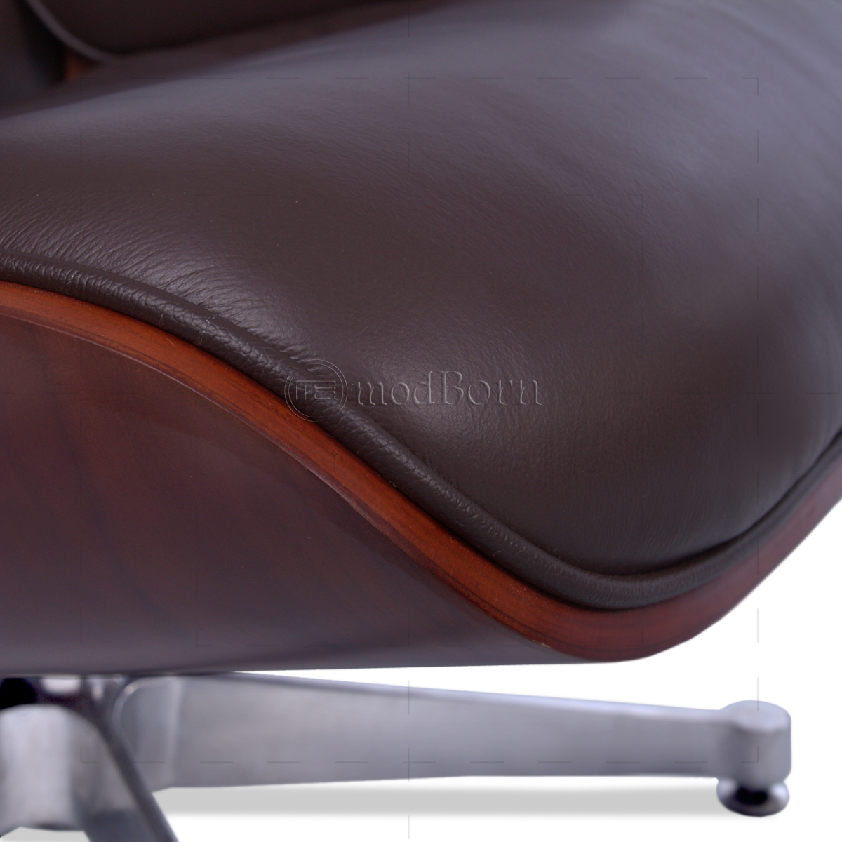 eames style lounge chair and ottoman brown leather cherry wood replica