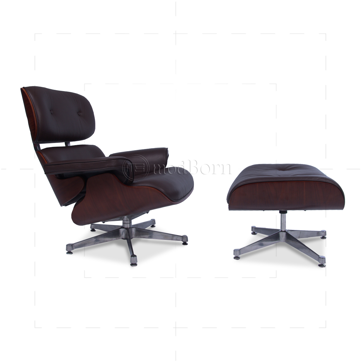 Eames Style Lounge Chair And Ottoman Brown Leather Cherry Wood