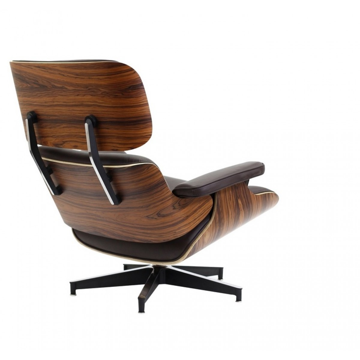 Eames style lounge chair and ottoman brown leather walnut wood for Chair and footstool